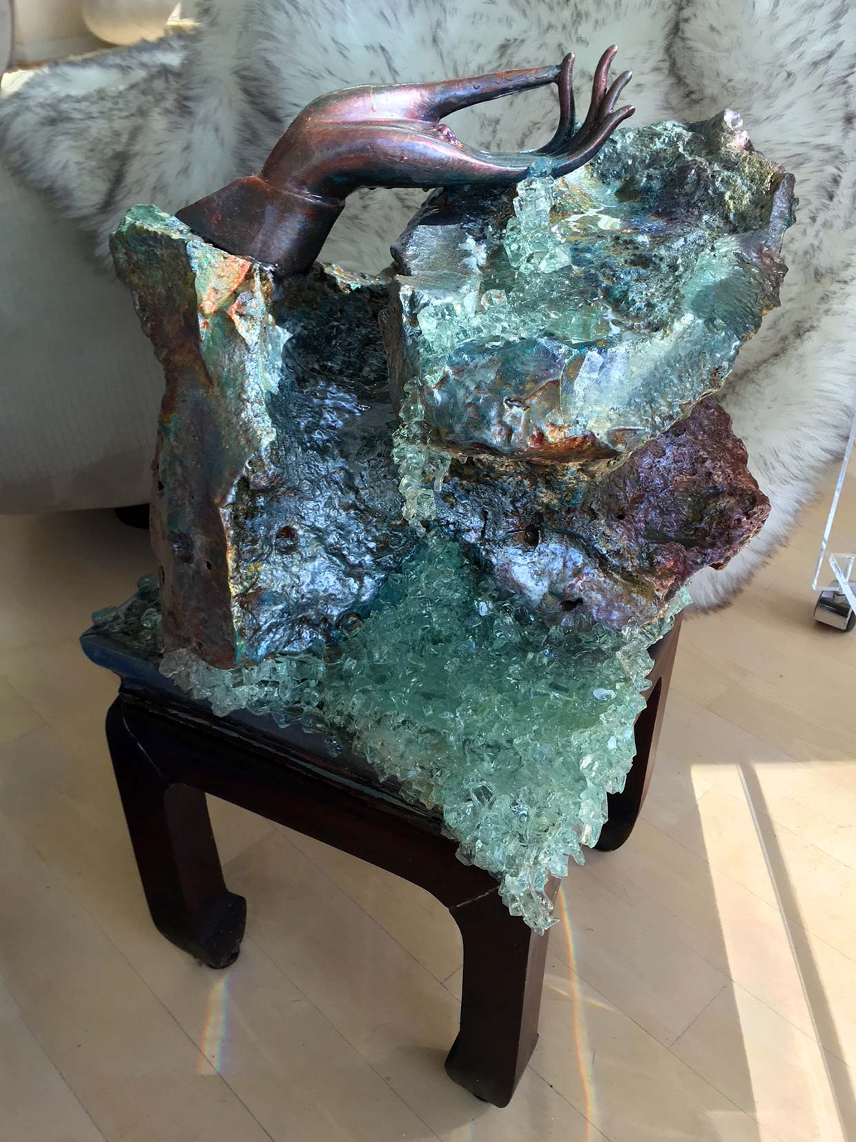 Metallic Geode Sculpture with Hand