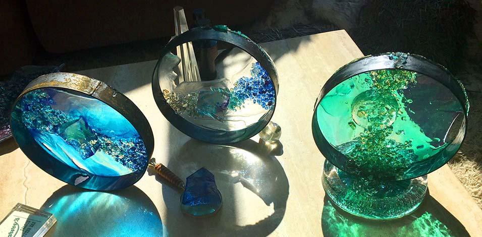 Mixmaster metal and dyed resin sculptures