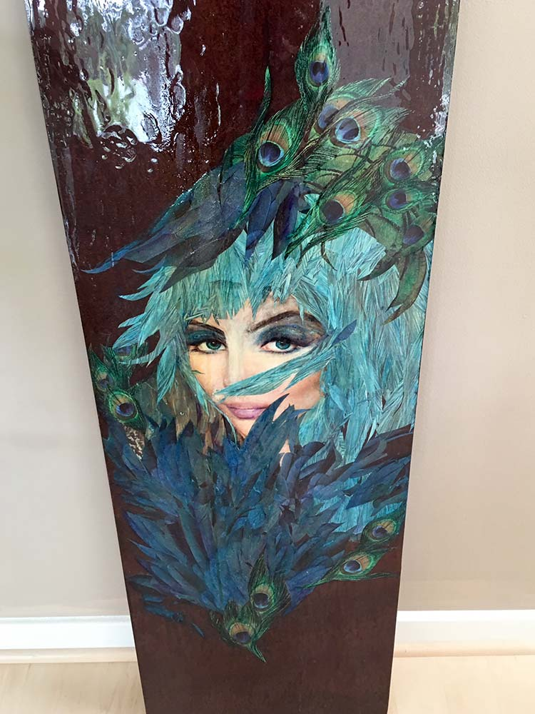 Peacock Hen painting on wood
